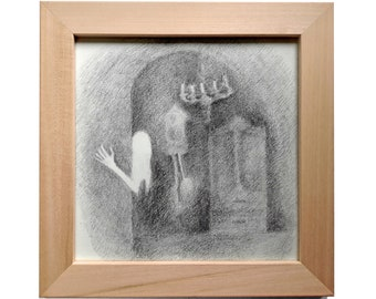 "Original Pencil Drawing ""Ghost"" FREE SHIPPING!"