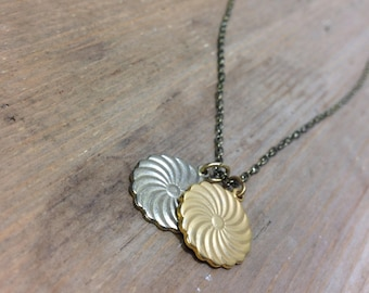 Vintage Pendant Necklace - Chain Necklace with Charms - Two Charms - Necklace with Round Pendants - Minimalist Necklace - Simple Necklace