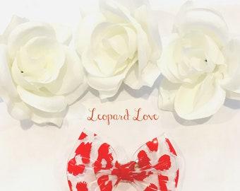 Leopard Love, Pinch Bow, Red Hair Bow, PVC Hair bow
