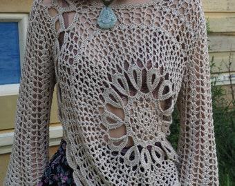Medium Asymmetrical Crochet Hippie Top