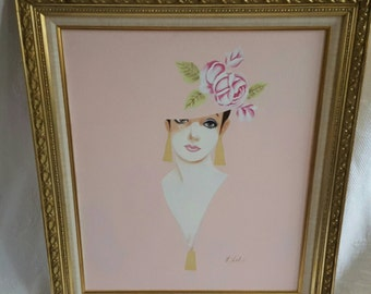 Vintage Lady in Pink Canvas Painting