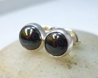 Hematite Earrings 5MM .. Small Sterling Silver and Hematite Stud Earrings .. Handmade