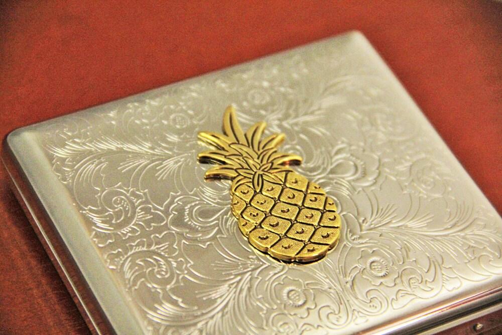 Pineapple Cigarette Case Business Card Holder Metal Wallet