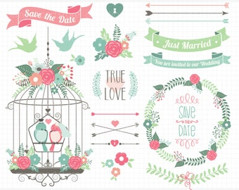 Flowers and Bird Cages Clipart, Wedding Bliss, Getting Married - Digital Clip Art (Instant Download)