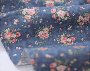 Cotton Fabric Floral Antique Bouquet - Indi Blue - By the Yard 39117