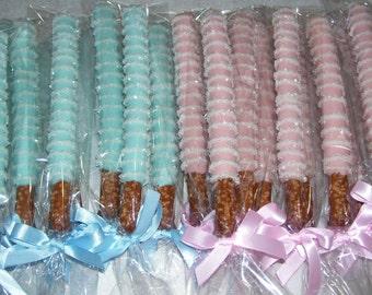 Chocolate Pretzel Rods Wedding Favors Birthday Party Baby Shower Pretzel Rod with Thin Chocolate drizzled Crystals 1 dozen