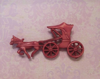 Old dyed red celluloid horse and carriage brooch pin c clasp