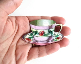 Erma - tea cup brooch - crystal brooch - teacup pin - tea accessories