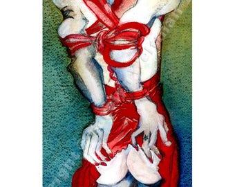 Erotic Art Print, Bondage, Mature - Put On Your Red Dress, Baby