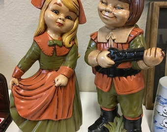Vintage Pair of Pilgrim Ceramic Figures of Boy with Brown Hair and Girl with Blonde Hair