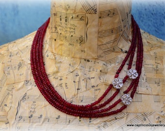 Brazilian ruby, diamante, diamante clasp, diamante flower beads, statement necklace, formal evening wear, LBD, Bling, party jewellery, UK