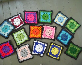 15 Crochet Granny Squares - Sewing Supply
