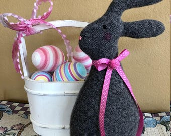 Felted Wool Easter Bunny-Fiberfill Stuffed Wool Easter Rabbit-Recycled Wool Jacket-Easter Decoration-Handmade Bunny-Fabric Bunny Rabbit-Grey