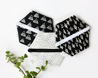 Hexagon Coin Purse, Zipper Pouch, Change Purse, Gift Card Holder, Gift for Her, Under 20, Purse Organizer, Boho, Black and White, Cactus