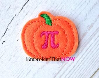 SALE INSTANT DOWNLOAD Pumpkin Pi Feltie Embroidery Design File
