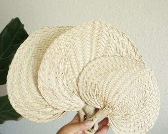 Vintage Woven Straw Raffia Fan - Various Sizes
