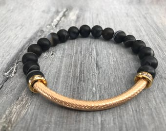 Stackable Black Stripe Agate Gemstone, Gold Tube/Cuff Bead, Rhinestone Donut accents