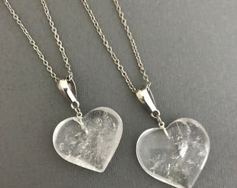 Clear Quartz Heart Necklace Silver, Crystal Jewelry, Crystal Healing Necklace, Silver Crystal Jewelry