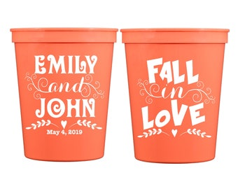 FALL IN LOVE, Wedding Cups, Custom Cups for Weddings, Rehearsal Dinner, Engagement Party, Plastic Party Cups, Wedding Favors, Fall Wedding