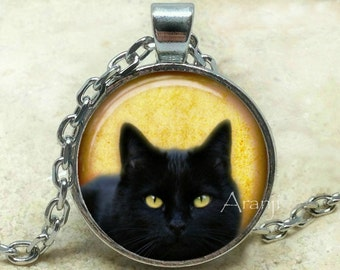 Black cat art pendant, black cat pendant, black cat necklace, black cat jewelry, cat jewelry, cat necklace, cat pendant, cat Pendant #AN117P