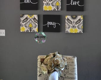 Eat Drink Be Merry Wall Decor Yellow Black Art Set Canvas Hanging Dining Room