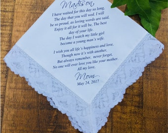 Bridesmaid Gift, Gift for bride, bridal gift, gift daughter, mother daughter gift, Wedding handkerchief, Gift Idea PRINTED hankie (H 048)