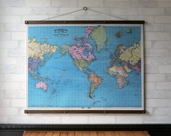Map wall hanging etsy world map 1897 vintage pull down school map chart reproduction canvas fabric print gumiabroncs Gallery