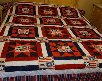 Full sized red white and blue patriotic quilt