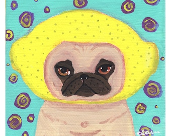Lemon Fruit Art, Art Under 20, Pug Wall Art, Dog Poster, Dog Lover Gifts And Collectibles, Cute Pug Gift, Lemon Kitchen Art, Pug Lover Gift