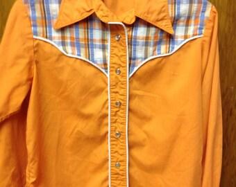 vintage western handmade pearl snap shirt/collared pearl snap plaid western shirt/70's western plaid shirt medium