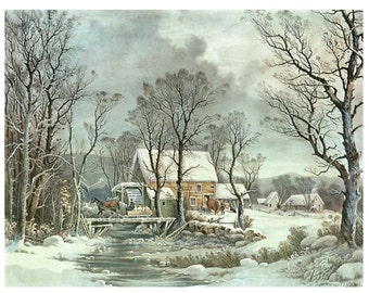 SALE Gift Sister Grandma Friend Unique Mom 8x10 Currier Ives Painting INSTANT DOWNLOAD Digital Print Winter Scene Printables 1/2 price