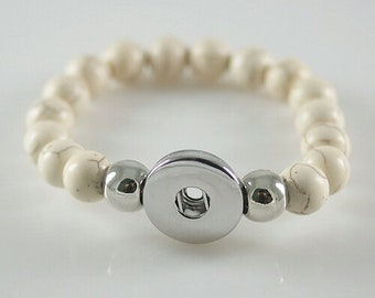 Bracelet White Pearl Snap button jewelry