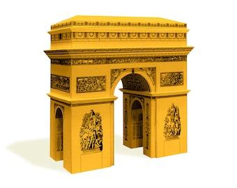 Arc de Triomphe - paper architecture model building kit || 16 cm - 6 inches high || white - gold - silver - steel color metallic paper