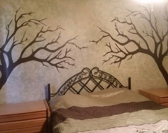 2 trees, for a forest scene in vinyl wall decal E00103