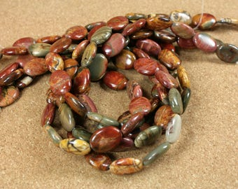Red Creek Jasper Oval Beads - Smooth Red Green Yellow Beads