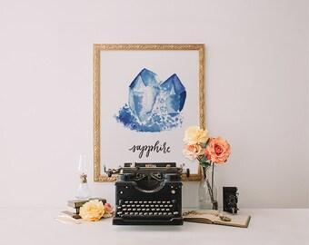 Watercolor Jewel Sapphire print, Printable Wisdom wall art print, printable art, calligraphy print watercolor art, gemstone print