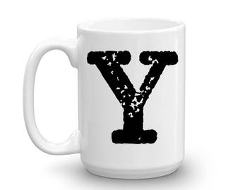 Initial Mug - Letter Y - 15oz Ceramic Cup - Groomsman Gift Mug - Right-Handed or Left-Handed Mug