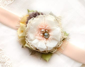 Flower Corsage - Wrist Corsage - Bride Bracelet - Wedding Corsage - Prom - Bridesmaid Bracelets - Floral Bracelet - Bridesmaid Jewelry