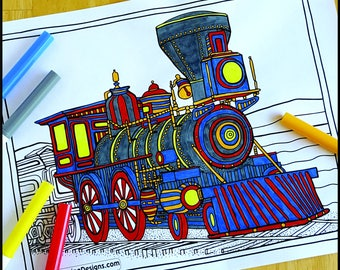 Coloring Page, Train, Printable