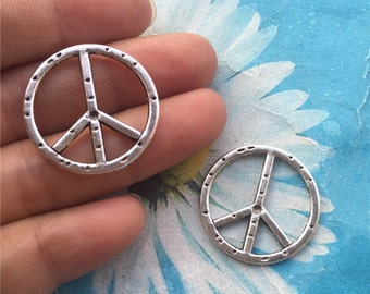 20pc 25mm antiqued silver peace sign charms findings connectors