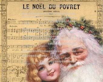 Vintage Santa French Songs Music Christmas  Large digital download ECS buy 3 get one free rdtt