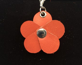 Coral Red Planner Flower - Leather Jot Clip-on Planner Charm