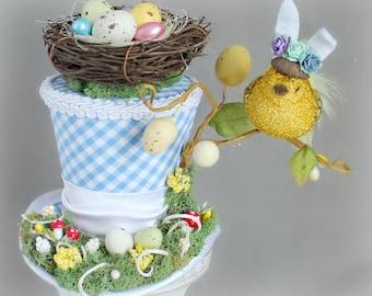 Easter Mini Top Hat, Spring Mini Hat, Bird Mini Hat, Easter Fascinator, Mini Hat, Top Hat, Mini Hats, Spring Tea Party Hats, Women Top Hat
