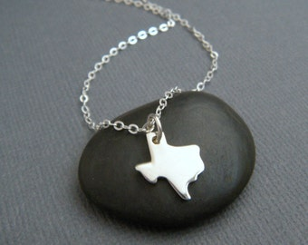 Texas state necklace. TX. small sterling silver state jewelry. tiny simple everyday jewelry. dainty. travel. I love TX pendant. TX pride