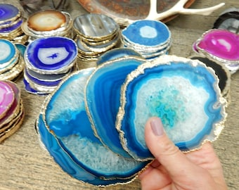 Agate Coasters Teal with Electroplated Gold Edge -  Plated Agate Coaster - You choose  1, 4, 6, 8 Quantity  (OB4B12)
