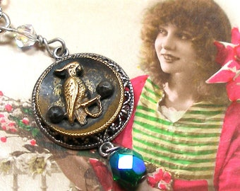 Parrot, Antique BUTTON necklace, 1800s Victorian BIRD on brass chain. Vintage button jewelry, jewellery.