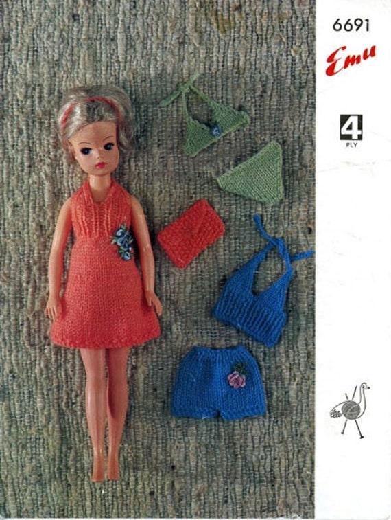 Emu 6691 Vintage Sindy Doll Knitting Patterns Beach And Cruise
