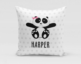 Panda Girl Pillow Cover - Customized Twill Pillowcase - Animal Pillow - Personalized with Name - COVER only