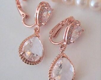 Bridal Rhinestone Earrings,Clip on earrings,Rose Gold earrings,Wedding Statement earrings,Clear crystal earrings for unpierced ears,Art Deco