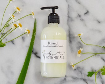 Kissed Organic Facial Cleanser, Gentle Foaming Cleansing Gel w/ Calendula and Chamomile - Makeup Remover, Natural Face Wash, SLS Free